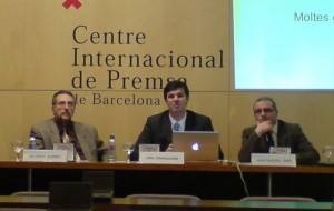 Sotapresident Salvador Alegret (IEC), Director General Jordi Iparraguirre, President Joan Francesc Gras (ISOC-CAT)